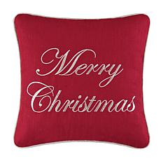 Merry Christmas Red Embroidered Pillow