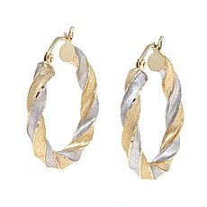 Michael Anthony® 10K 2-Tone Gold Twisted Hoop Earrings