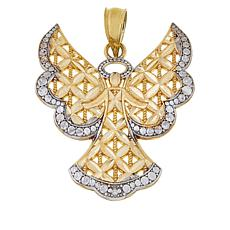 "Michael Anthony Jewelry® 10K 2-Tone Diamond-Cut ""Angel"" Pendant"