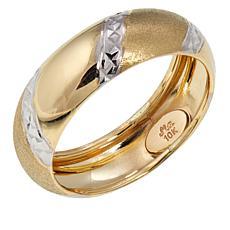 Michael Anthony Jewelry® 10K 2-Tone Diamond-Cut Band Ring