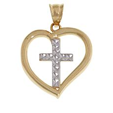 Michael Anthony Jewelry® 10K 2-Tone Heart Cross Pendant