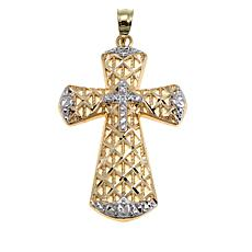 Michael Anthony Jewelry® 10K 2-Tone Lattice Cross with Diamond-Accent