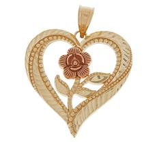 Michael Anthony Jewelry® 10K Heart and Rose Pendant