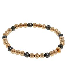 Michael Anthony Jewelry® 10K Yellow & Black Bead Stretch Bracelet