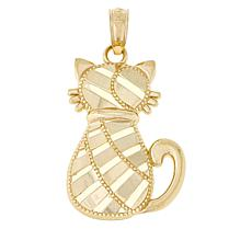 Michael Anthony Jewelry® 10K Yellow Gold Diamond-Cut Cat Pendant