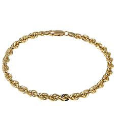"Michael Anthony Jewelry® 14K 5mm Glitter Rope Chain 8"" Bracelet"