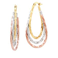 Michael Anthony Jewelry® 14K Tri-Color Twisted Oval Hoop Earrings