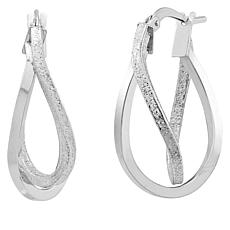 Michael Anthony Jewelry® 14K White Gold Oval Crossover Hoop Earrings
