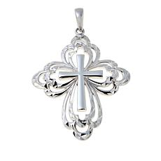 Michael Anthony Jewelry® Diamond-Cut Cross Sterling Silver Pendant