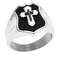 Michael Anthony Jewelry® Men's Black Crystal Cross Stainless Steel ...