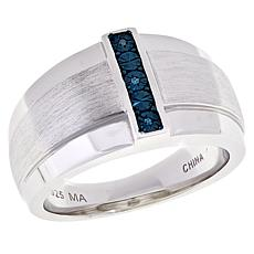 Michael Anthony Jewelry® Men's Sterling Silver Blue Diamond Ring