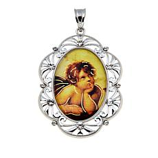 Michael Anthony Jewelry® Oval Guardian Angel Sterling Silver Pendant