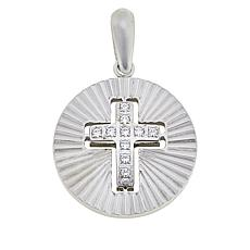 Michael Anthony Jewelry® Stainless Steel CZ Cross Disc Pendant