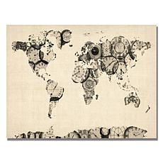 "Michael Tompsett ""Old Clocks World Map"" - 30""x 47"""