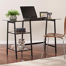 Michaela Metal/Glass Sawhorse A-Frame Writing Desk - Black