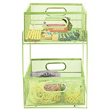Mind Reader 2-Tier Mesh Sliding Basket Organizer
