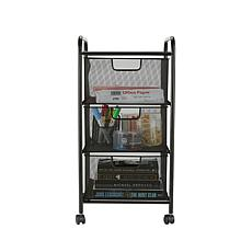 Mind Reader 3-Drawer Metal Mesh Rolling Storage Cart