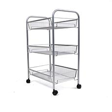 Mind Reader 3-Shelf Metal Mesh Rolling Cart - Silver