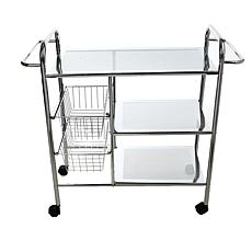 Mind Reader 3-Tier All Purpose Utility Cart with Shelves and Baskets
