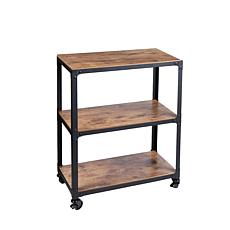 Mind Reader 3-Tier Wood & Metal All-Purpose Utility Cart - Black/Brown