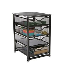 Mind Reader 4-Tiered Rolling Mesh Office Cart with Metal Drawers