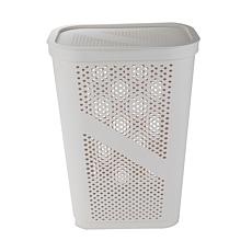 Mind Reader 60-Liter Lightweight Plastic Laundry Hamper - White