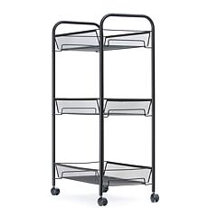 Mind Reader Rolling Metal Mesh 3-Shelf Cart - Black