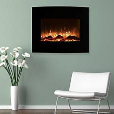 Mini Curved Black Fireplace with Wall and Floor Mount 25 quot;