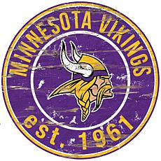 Minnesota Vikings Round Distressed Sign