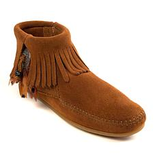 Minnetonka Suede Fringe Concho Feather Ankle Moccasin