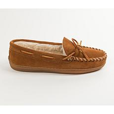 Minnetonka Suede Pile-Lined Hardsole Slipper - Wide