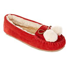 Minnetonka Suede Pom Pom Slipper with Gift Bag