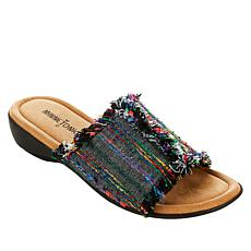 Minnetonka Violet Frayed Fabric Slide Sandal