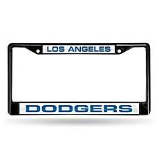 MLB Black Laser-Cut Chrome License Plate Frame -Dodgers