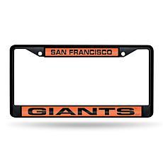 MLB Black Laser-Cut Chrome License Plate Frame -  Giants