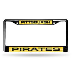 MLB Black Laser-Cut Chrome License Plate Frame -Pirates