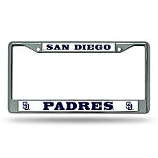 MLB Block Letters Chrome License Plate Frame - Padres