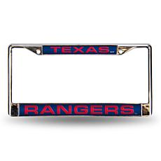 MLB Blue Laser-Cut Chrome License Plate Frame - Rangers
