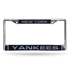 MLB Blue Laser-Cut Chrome License Plate Frame - Yankees