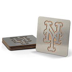 MLB Boasters 4-piece Coaster Set - New York Mets