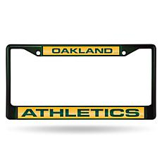 MLB Colored Laser-Cut Chrome License Plate Frame -  Athletics