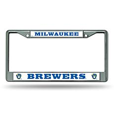 MLB Mitt Logo Chrome License Plate Frame - Brewers