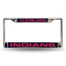 MLB Navy Insert Laser-Cut Chrome License Plate Frame - Indians