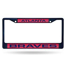 MLB Navy Laser-Cut Chrome License Plate Frame -  Braves