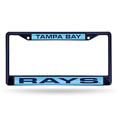 MLB Navy Laser-Cut Chrome License Plate Frame -  Rays