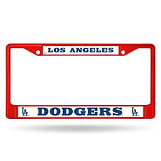 MLB Red Chrome License Plate Frame - Dodgers
