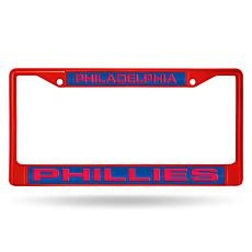 MLB Red Laser-Cut Chrome License Plate Frame -  Phillies