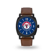 "MLB Sparo ""Knight"" Faux Leather Watch - Rangers"
