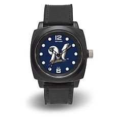 "MLB Sparo Team Logo ""Prompt"" Black Strap Sports Watch - Brewers"