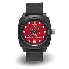 "MLB Sparo Team Logo ""Prompt"" Black Strap Sports Watch - Diamondbacks"